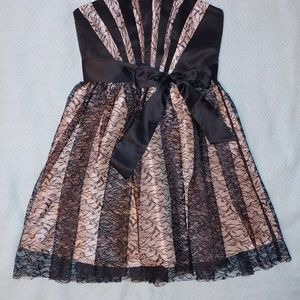 Max and Cleo Pink & Black Satin/Lace Dress